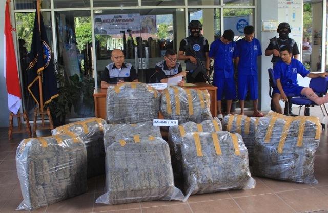 1 Tersangka Ditembak, BNNP Amankan 181 Kg Ganja dan 10 Paket Shabu