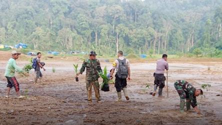 Cegah Terjadi Bencana, TNI Deklarasikan Cinta Lingkungan di Bekas Tambang Ilegal
