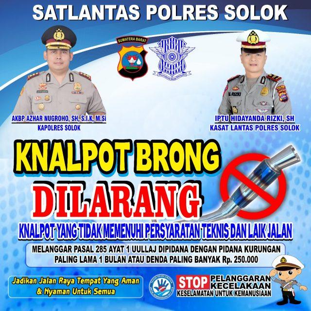 Polres Solok Larang Pemakaian Knalpot Racing